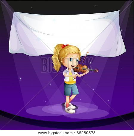 Illustration of a girl performing at the stage with an empty banner