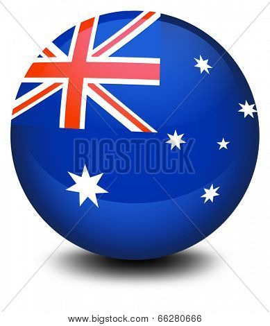 Illustration of a soccer ball with the flag of Australia on a white background