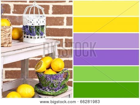 Still life with fresh lemons and lavender. Color palette with complimentary swatches poster