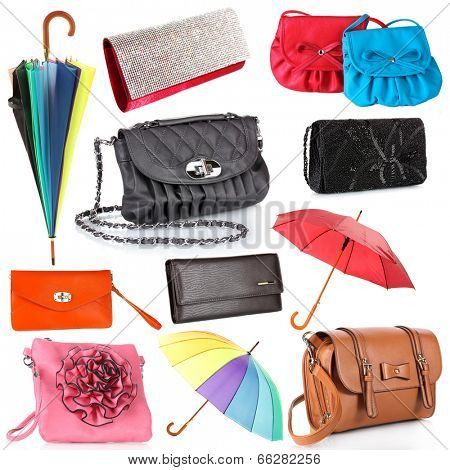 Collage of women's bags and umbrellas isolated on white