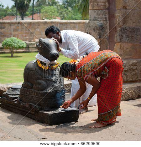 Indian People Brings Offerings in Hindu Temple