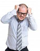 Businessman scratch head poster