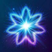 Cosmic blue shining lights vector abstract star poster