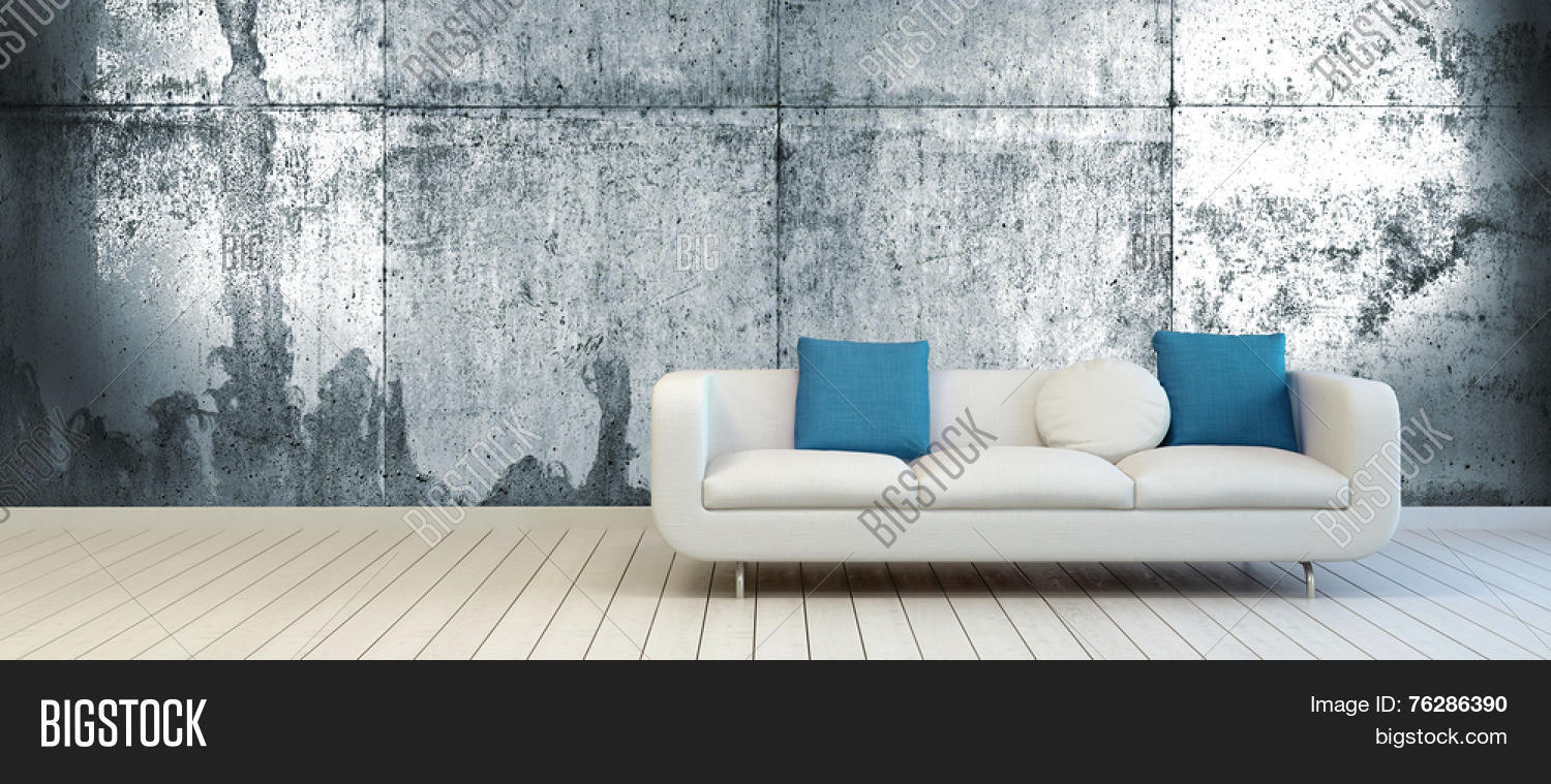 3D Rendering Of Elegant Couch With White And Blue Green Pillows On An Empty Living Room