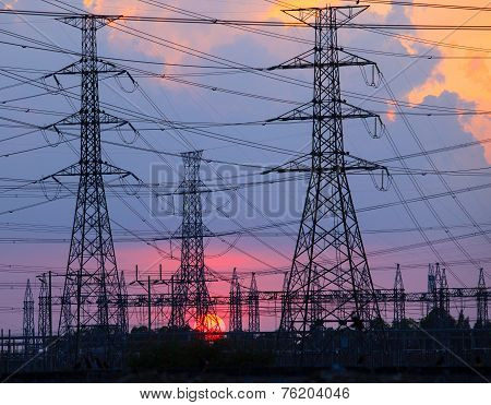 Beautiful Sunset Behind Electricity Plant Industry Estate Use As Electrical Power Background