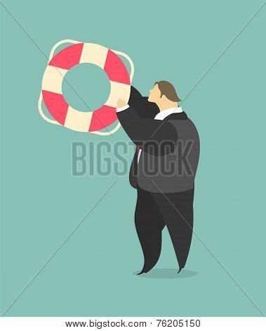 Businessman Throwing A Lifeline