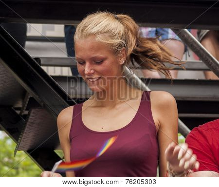 Attractive Woman, Dancing During Christopher Street Day Parade