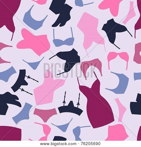 Fashion lingerie seamless pattern with female underwear.