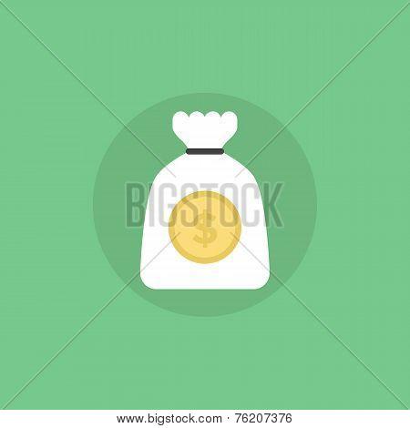 Bag Of Gold Flat Icon Illustration