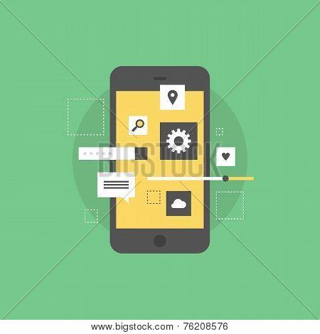 Mobile Interface Develop Flat Icon Illustration