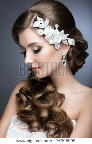 Portrait of a beautiful woman in a wedding dress in the image of the bride.