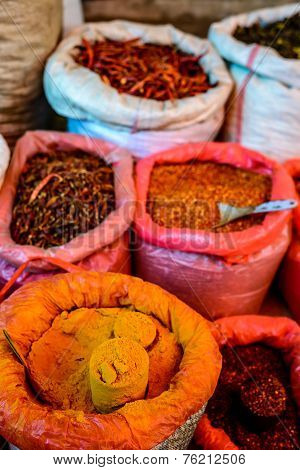 Bags Of Spice And Chillies In Asian Market (Myanmar)