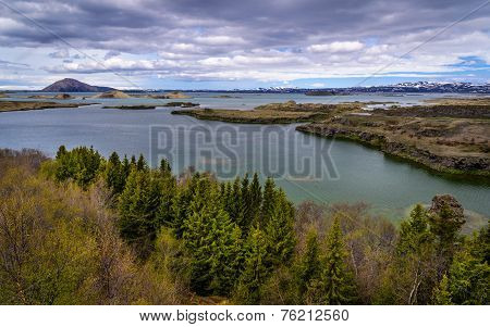 A View Of Lake Myvatn Area In Northern Iceland