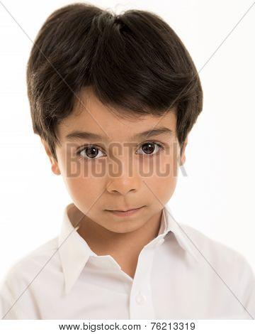 Boy Against White Background