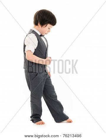 Boy Walking Imaginary Line