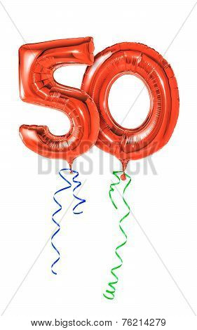 Red balloons with ribbon - Number 50