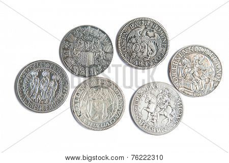 Collection of the medieval swiss coins on the white background