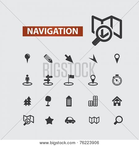 navigation, route, map black icons, signs, illustrations set, vector