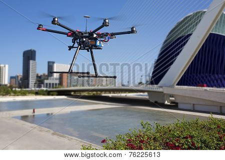 Flying Drone In The Skies Of Valencia