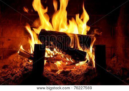 Relaxing view of indoor fireplace
