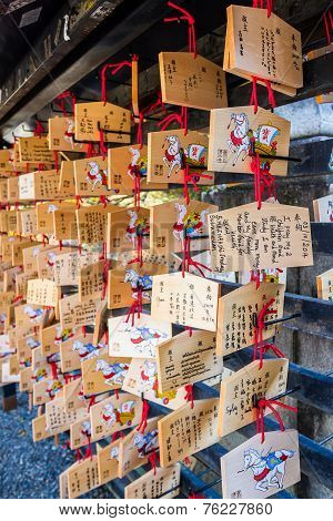 Japanese Votive Plaque(ema) Hanging In Kiyomizu Temple.