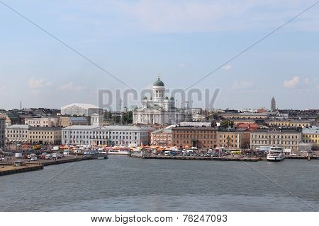 The panorama of the Helsinki city. Helsinki Cathedral. Finland. poster