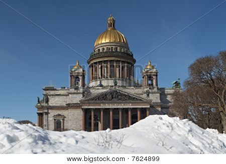 St. Isaak cathedral in winter. St.Petersburg Russia poster