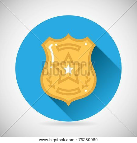 Police officer bage icon protection law order symbol on Stylish Background Modern Flat Design Vector