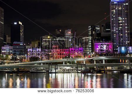 Brisbane Cityscape coloured by night