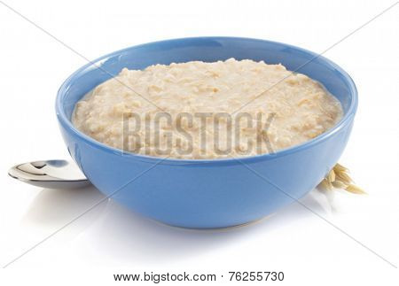 bowl of oatmeal isolated on white background