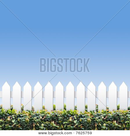 Sky And Small White Fences