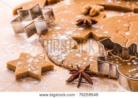 Making Christmas gingerbread cookies.