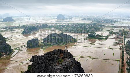 Amazing Panorama View Of The Rice Fields, Limestone Rocks And Mountaintop Pagoda From Hang Mua Templ