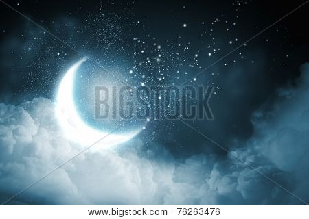 Background image of night sky with bright moon