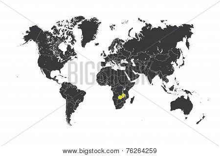 Map Of The World With A Selected Country Of Zambia