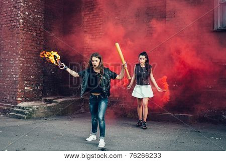 Two Young Fans With Molotov Cocktail And Red Smoke Bomb
