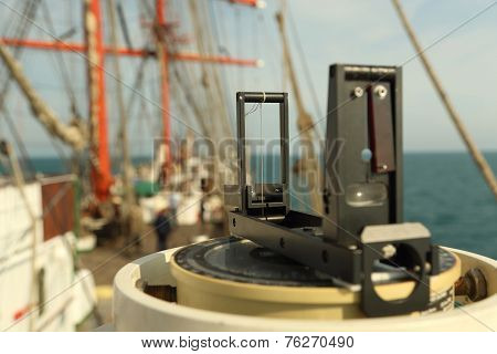 Background - an ancient navigation equipment sailing ship poster