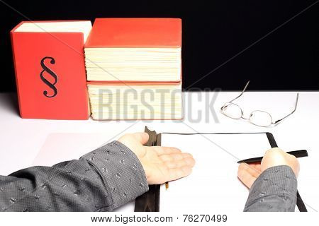 Worker Shows Document