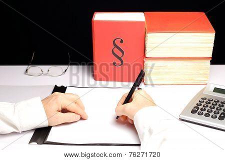 Man Is Working On Desk