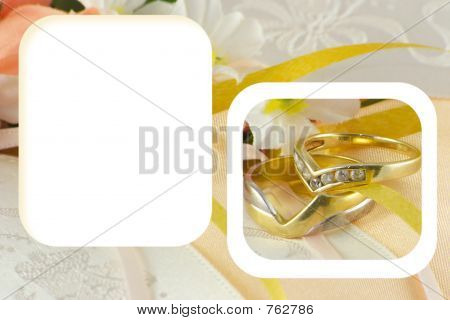 wedding rings in a frame