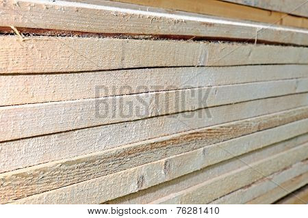 Unplaned Thick Planks Impregnated With Antiseptic