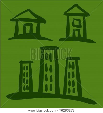 Set of House sketches on green background