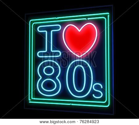 I love the 80s neon isolated
