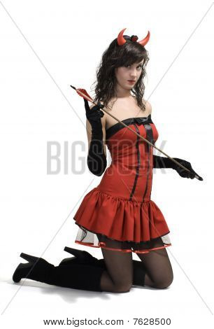 Beauty Attractive Red Devil Girl With Arrow