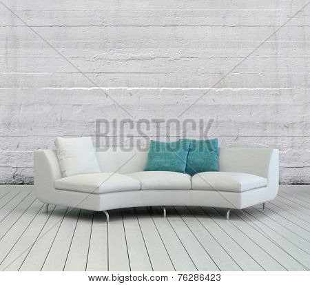 3D Rendering of Elegant White Sofa with White and Green Pillows on an Empty Lounge Room with Textured White Wall Background and Wooden Flooring Design.