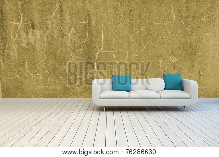 3D Rendering of Single White Sofa with White and Blue Green Pillows on an Empty Lounge Room with Vintage Brown Wall Design and Off White Wooden Flooring.