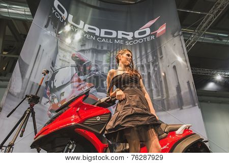 Model Posing At Eicma 2014 In Milan, Italy