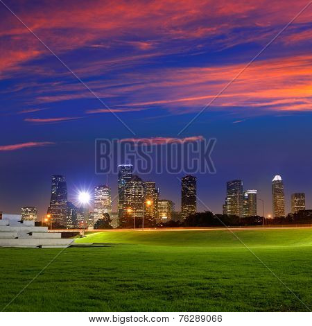 Houston sunset skyline from Memorial park at Texas US