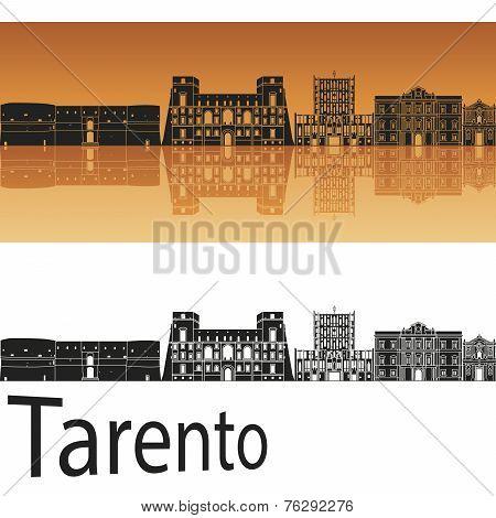 Tarento Skyline In Orange Background