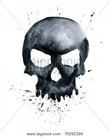 watercolor black skull with splashes. vector illustration